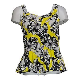 G.I.L.I Swimsuit Tropical Print Peplum Cut Tankini Top Yellow A375137