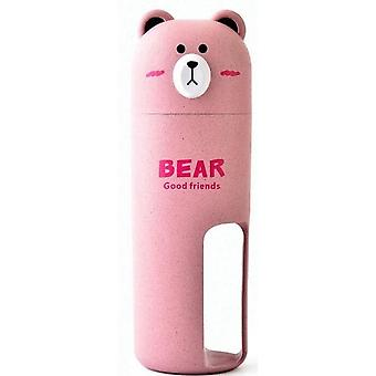 Portable Bear Travel Toothbrush Organizer Set, Towel Wash Gargle Cup