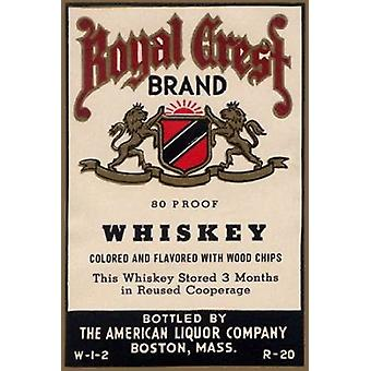 Royal Crest Brand Whiskey Poster Print by Vintage Booze Labels