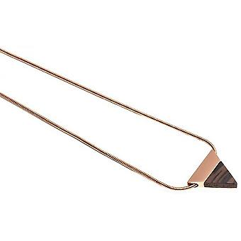 BeWooden Rose Triangle Necklace - Rose Gold/Brown