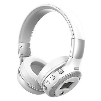 Zealot B19 Wireless Headphones with LED Display and FM Radio - Bluetooth 5.0 Wireless Headphones Stereo Studio White