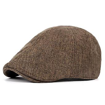 Summer Flat Gray Linen Berets Vintage Elastic Driver Hat British Style