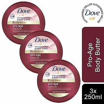 Dove Nourishing Body Care Pro Age Body Butter with Olive Oil, 3 Pack of 250ml