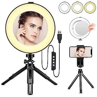 "8"" LED Ring Light with Tripod Stand & Phone Holder, Dimmable 3 Light Modes"