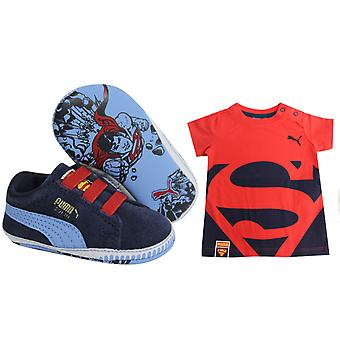 Puma Crib Pack Suede Superman Kids T-shirt & Shoe Trainers Sets 360043 01 B84A