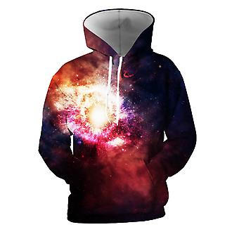 Mens 3d Colorful Galaxy Printed Midnight Blue Hoodies With Pockets
