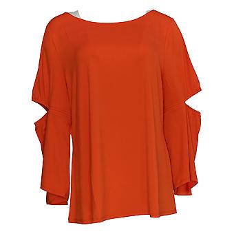 H By Halston Women's Top Jet Set Jersey 3/4 Slv Cut Out Elbow Red A305345