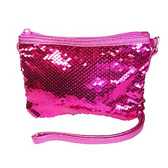 Girls pink sparkly sequin overbody bag