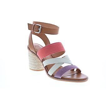 Frye & Co. Leiah Mixed Strap Sandal  Womens Brown Leather Strap Heels Shoes
