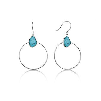 Ania Haie zilver rhodium plated Turquoise front hoepel oorbellen E014-02H