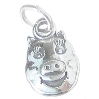 Pig Face Sterling Silver Charm .925 X 1 Pigs Faces Piggie Piggy Charms - 3931