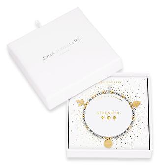 Joma Gioielli Lifes A Charm Strength Silver Gold Charm 17.5cm Bracciale Stretch 4264