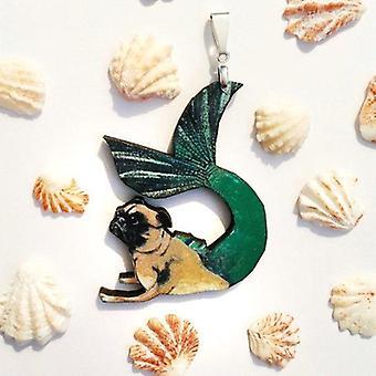 Mermaid Pug Pendant Necklace