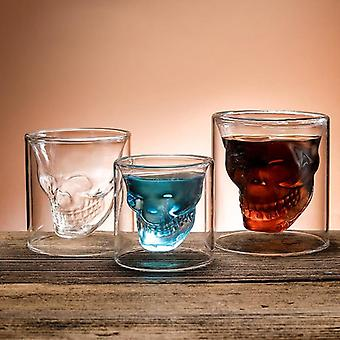 Coffee Mug Double-layered Transparent Crystal Skull Head Glass Cup