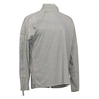zuda Women's Ruched Turtleneck Pullover Gray A389107