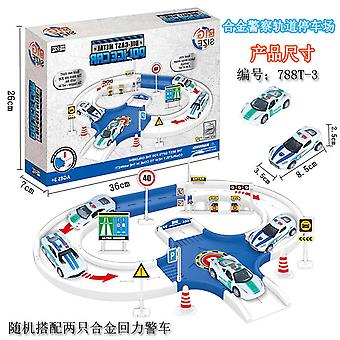 Child police car track parking lot toy