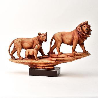Widdop & Co. Naturecraft Wood Effect Family Of Lions Figurine