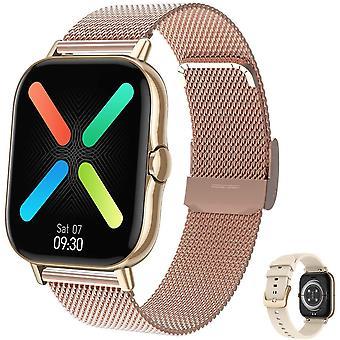 Inteligentny zegarek dla Unisex, wodoodporny IP67, z 1,78-calowym ekranem TFT, Bluetooth, połączeniami, monitorem tętna dla Androida IOS-Golden