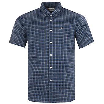Farah Evans Modern Fit Short Sleeve Gingham Shirt - Regatta Blue