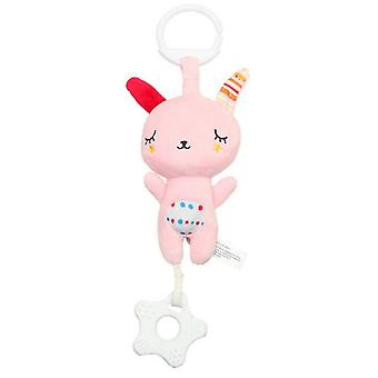 Pink Rabbit Rattle Toys With Music Box Teether Plush Baby Hanging Toys Colorful Rattling Doll For Infant