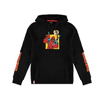 Deadpool Hoodie Crazy Bad Things Logo new Official Mens Black Pullover