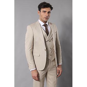 Beige self-patterned vested suit | wessi
