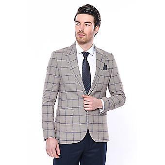 Beige slim-fit checked blazer