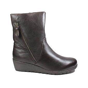 Caprice 26463 brunt läder Womens kil hälen kängor