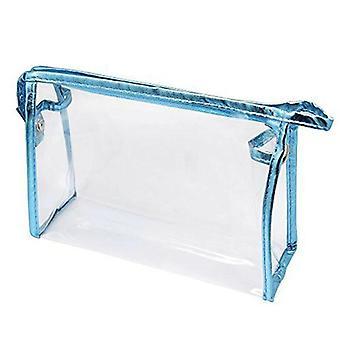 Jasnoniebieska przezroczysta wodoodporna kosmetyczka PVC Vinyl Zipper Kosfy (22,5 cm * 14 cm * 7 cm)
