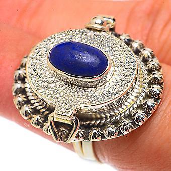Large Lapis Lazuli Poison Ring Size 6.5 (925 Sterling Silver)  - Handmade Boho Vintage Jewelry RING66775
