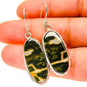 """Ocean Jasper Earrings 1 3/4"""" (925 Sterling Silver)  - Handmade Boho Vintage Jewelry EARR417118"""