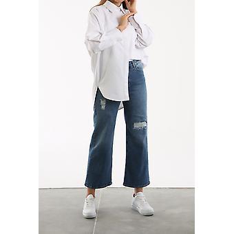 Straight Cut Fake Ripped Denim Pants