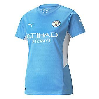 Puma Manchester City 2021/22 Womens Short Sleeve Home Football Shirt Blue