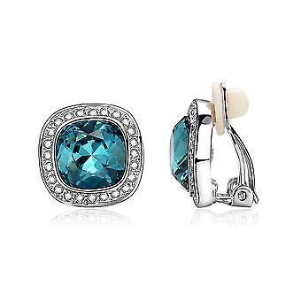 Earrings Round Green Diamond Crystal Ear Clips For Wedding