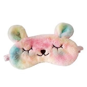 Colorful Plush Rabbit Sleeping Mask Embroidered Cartoon Eye Mask