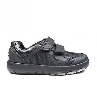 Clarks Rex Stride Kids Black Leather Boys Rip Tape School Shoes
