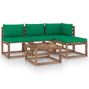 vidaXL 5 szt. Zestaw sof ogrodowych z palet z poduszkami z drewna sosnowego