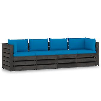 vidaXL 4-Sitzer-Gartensofa mit Kissen Grau Imprägniertes Holz