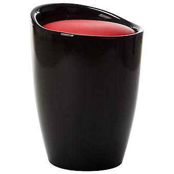 vidaXL البراز مع مساحة تخزين الأسود والأحمر فو الجلود
