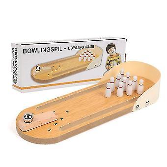 Mini boule de bowling en bois children's jouets, jeux interactifs de table parent-enfant