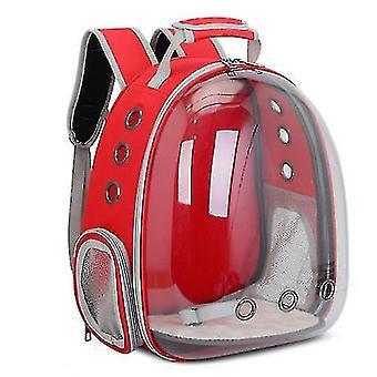 Cat Carrier Rucsac, Space Capsule Knapsack Pet Travel Bag impermeabil respirabil (roșu)