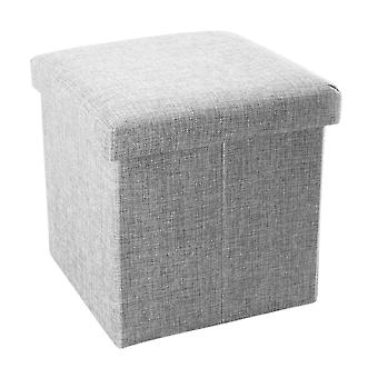 Foldable stool 38x38x38 cm - seat cube with storage space and lid made of fabric in linen look