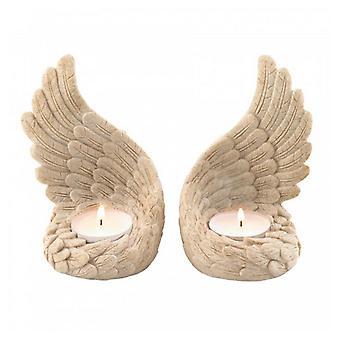 Flügel der Hingabe Stein-Look Engel Flügel Teelicht Kerzenhalter Set, Packung mit 1