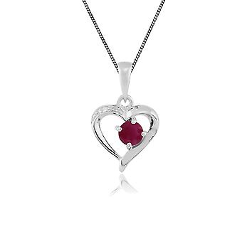 Classic Round Ruby & Diamond Heart Pendant Necklace in 9ct White Gold 117P0069019