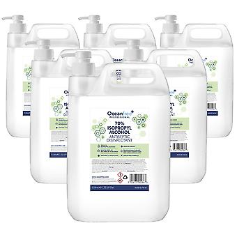 IPA Disinfectant Rubbing Isopropyl Alcohol Hand Sanitiser - 5L Litre with Pump x6 - Certified Surgical / Medical Grade - Made in the UK