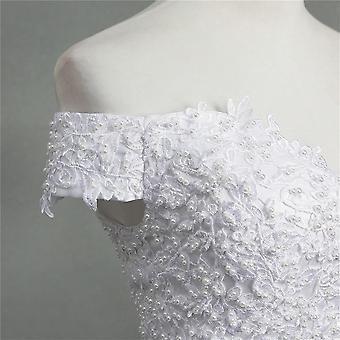 Tyylikäs pallo puku pois olkapää häät mekot morsiamet pitsi kullannuppu