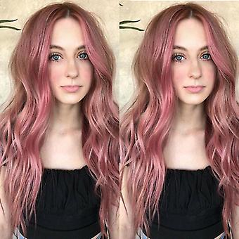 Long Curly Wigs Ladies Womens Ombre Wavy Hair Full Wig Pink