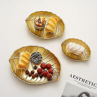 Nordic inspired style gold storage and decor organising tray(Leaves-l)