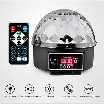 9 färger 27w Crystal Magic Ball Led Stage Lamp 21 Mode Disco Laser Light Party Lights Ljudkontroll