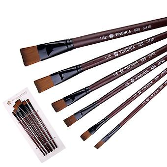 6-piece Set Nylon Wool Flat Head Oil Painting Pen Gouache Watercolor Brush Painting Tool Gift